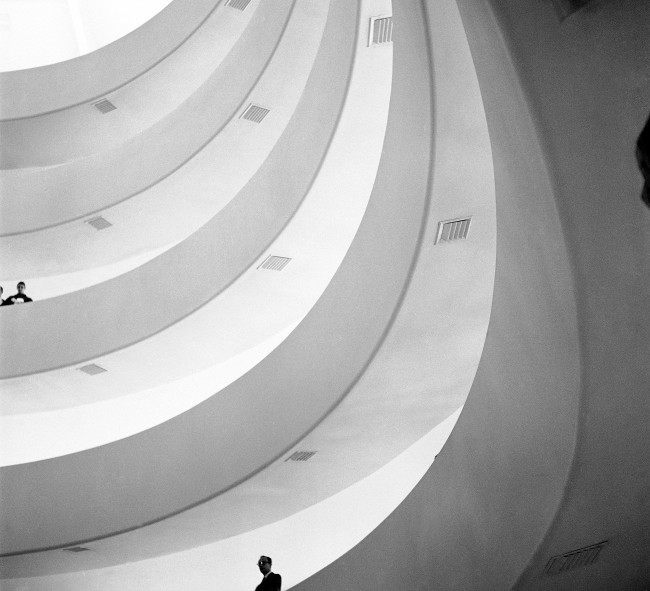"View of the new Solomon R. Guggenheim museum in New York, March 31, 1959, designed by Frank Lloyd Wright. The building has caused a great deal of comment. Wrights calls the building an Archeseum, which he says means '""a building in which to see the highest'"