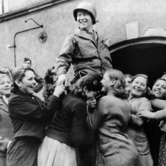 1944: Lt. J.B. Keeley of Houston, Texas, Is Raised By Ukrainian Girls In Celebration of Their Liberation From German Slavery
