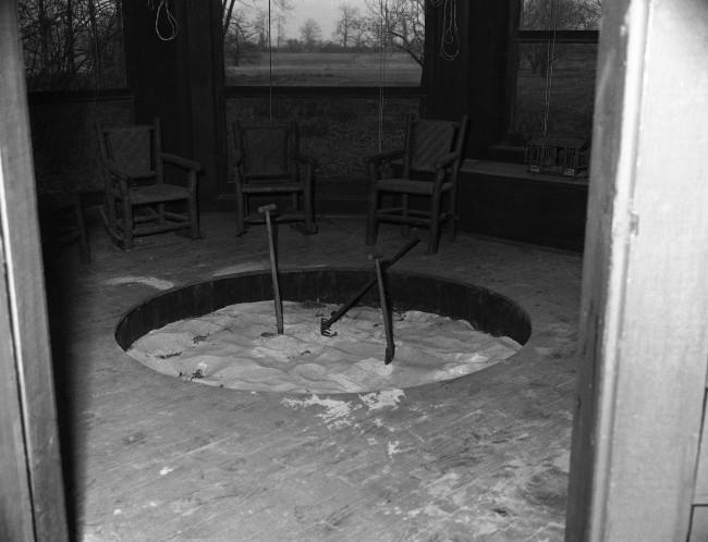 "Henry Ford''s 45-room Georgian mansion on his 1,369-acre estate ""Fairlane"" at Dearborn, Michigan on March 19, 1951. Sand pit, inside view."
