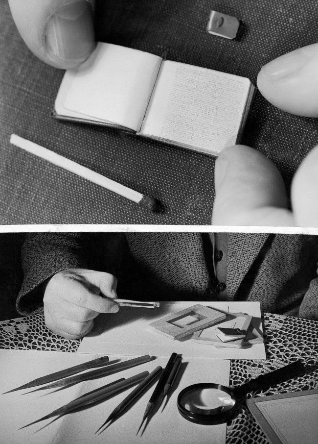 "Miniature books, one so small it has to be picked up with tweezers, are the specialty of Lajos Ehmann of Mohacs, Hungary shown March 30, 1962. He uses especially sharpened pencils to write them. Top: One of his tiny books, lying open, looks big by comparison with the smallest one Ehmann has made, above it. The open book contains the play 'The Tragedy of Man."" The smallest book contains the whole of a speech Nikita Khrushchev made in Budapest four years ago. Bottom: Ehmann holds the smallest book in tweezers, alongside some of his other books. On the table are especially sharpened pencils. The smallest book is 5 millimeters (about one half inch) wide. Location unknown."