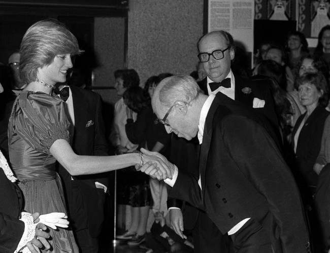 The Princess of Wales is greeted by Russian cellist Mstislav Rostropovitch at the Barbican Centre in London at a special concert given for the Prince and Princess of Wales as a wedding gift. * This was the princess's first public engagement since the birth of her son, Prince William of Wales. Date: 26/10/1982