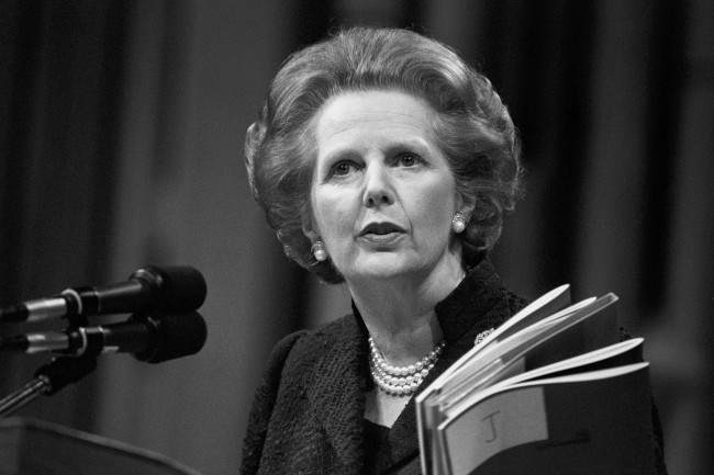 Prime Minister Margaret Thatcher addresses the 55th Annual Conservative Women's Conference at the Barbican Centre in London. Her keynote speech was on inflation. Date: 22/05/1985
