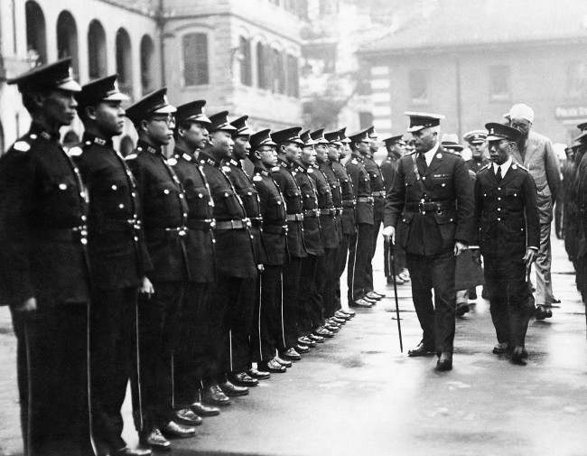 Chinese special constables in the Hong Kong police force.