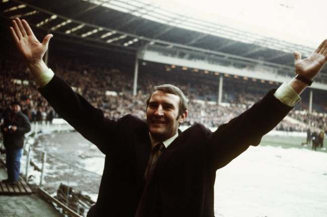 Malcolm Allison Manchester City coach celebrates after their win