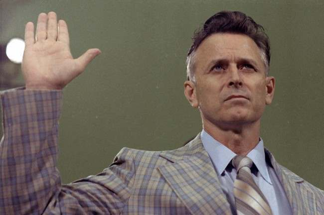 James Earl Ray, convicted killer of civil rights leader Dr. Martin Luther King Jr., is shown Aug. 16, 1978, being sworn in prior to his testifying before the House Select Committee on Assassinations in Washington.