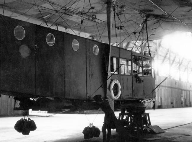 The loaded bomb rack of a large Coastal Airship used for bombing U-Boats. Date: 01/01/1919