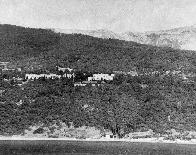 This is the Livadia Palace, center, former summer home of Tsar Nicholas II, Feb. 12, 1945, located about two mile southwest of Yalta, in the Crimea on the Black Sea, where Churchill, Roosevelt and Stalin conferred for eight days.