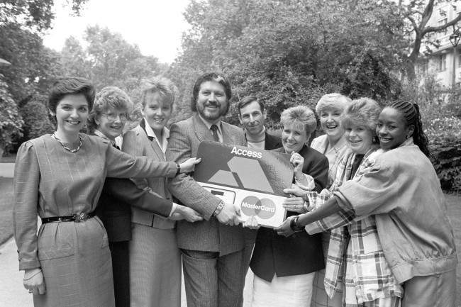 BBC Radio One DJ Dave Lee Travis poses with the finalists in the Access Assistant of the Year competition. (l-r) Elizabeth Stead, Margaret Watts, Emily Parker, Angus Mackenzie, Lynn Bannard, Dorothy McGall, Alice Clarke and Tina Bangs. Date: 15/06/1987