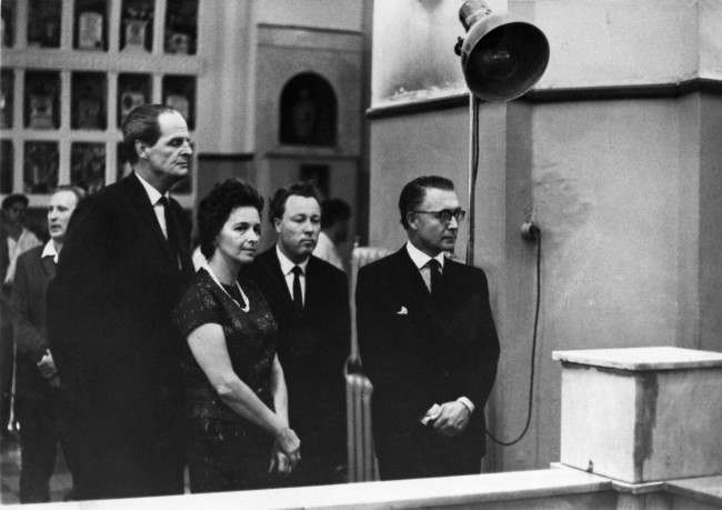 British businessman Nigel Burgess, left, brother of renegade diplomat Guy Burgess, stands with Georgy Stetsenko and Mr. and Mrs. Donald Maclean, right, during the cremation service for Burgess in Moscow, Russia, on September 4, 1963. Burgess died in the Soviet capital on August 30, 1963 of a heart disease. His brother flew from London to the funeral. Stetsenko was a colleague of Burgess at the Moscow Foreign Languagues Publishing House. Maclean fled to Russia with Burgess.