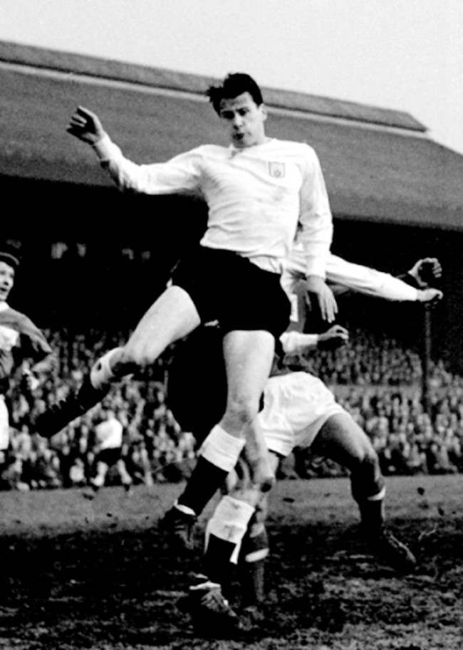 Seen here leaping for the ball is Bobby Robson, wing-half or inside-forward with Fulham.