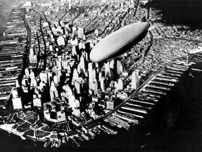 - In this Nov. 2, 1931 file photograph, the USS Navy Air Cruiser Akron flies over lower Manhattan's financial district in New York City. The Akron went down in a violent storm off the New Jersey coast. The disaster claimed 73 lives, more than twice as many as the crash of the Hindenburg, four years later. The USS Akron, a 785-foot dirigible, was in its third year of flight when a violent storm sent it crashing tail-first into the Atlantic Ocean shortly after midnight on April 4, 1933