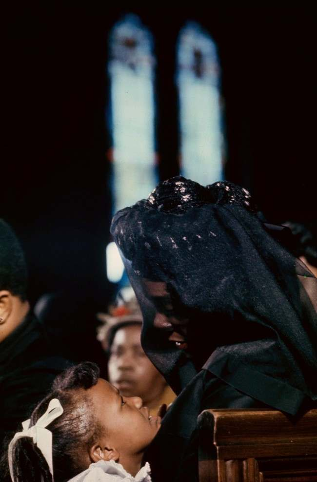 Coretta Scott King is shown with her daughter, Bernice, during the funeral of her husband, civil rights leader Dr. Martin Luther King Jr., at the Ebenezer Baptist Church in Atlanta, Ga., April 9, 1968.
