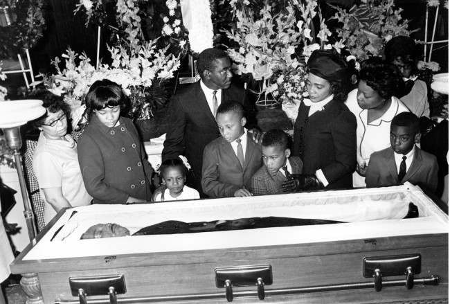 Coretta Scott King, and her four children view the body of her husband, slain civil rights activist leader Dr. Martin Luther King Jr., in Atlanta, Ga., on April 7, 1968. The children are, from left, Yolanda, 12, Bernice, 5, Martin III, 11, and Dexter 7. The civil rights leader was standing on the balcony of the Lorraine Motel when he was killed by a rifle bullet on April 4, 1968. James Earl Ray pleaded guilty to the killing and was sentenced to 99 years in prison. He died in prison in 1998.