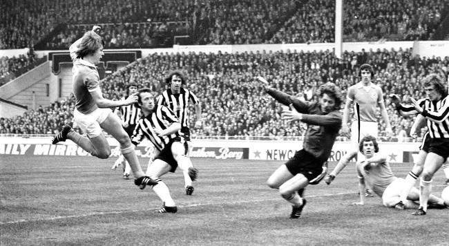 Peter Barnes (left) scores Manchester City's first goal after nine minutes in Football League Cup final with Newcastle United at Wembley. Beaten Newcastle 'keeper is Mike Mahoney.