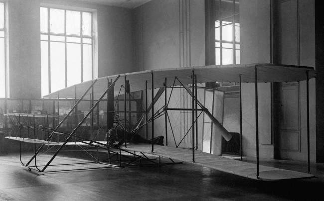 The first aeroplane that ever made a sustained flight - a biplane built by the brothers Wright - which was shipped to this country from America and, due to a dispute between the Wright Brothers and the US Smithsonian Institute, was put on display at the Science Museum in London in 1928.