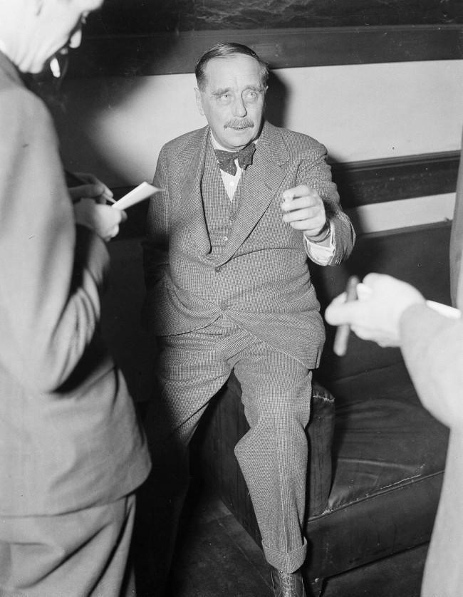 English Author, H. G. Wells in Washington, D.C., March 12, 1935 as he reporters at a press conference in Washington, D.C.