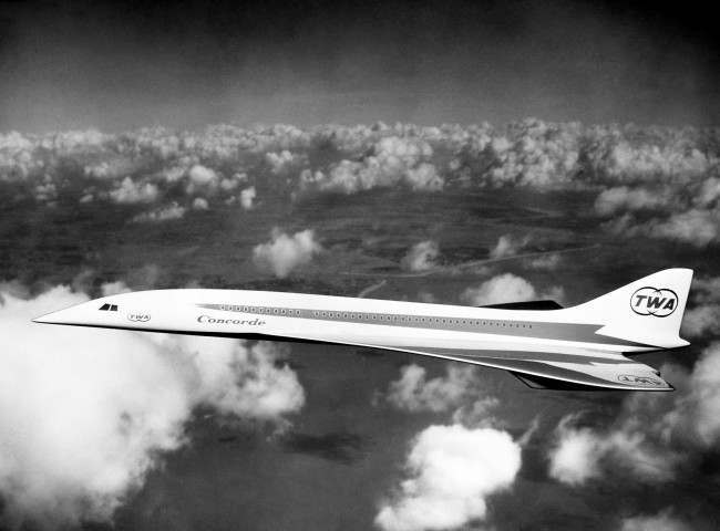 The pointed nose of the full-scale cockpit mock-up of the Anglo-French Concorde supersonic airliner at the Filton, Bristol, works of the British Aircraft Corporation. The French and British governments signed in November 1962 an agreement for the joint design, development and production of the Concorde by the British Aircraft Corporation and Sud Aviation of France.
