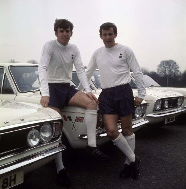 England and Tottenham Hotspur players Martin Peters (left) and Allan Mullery