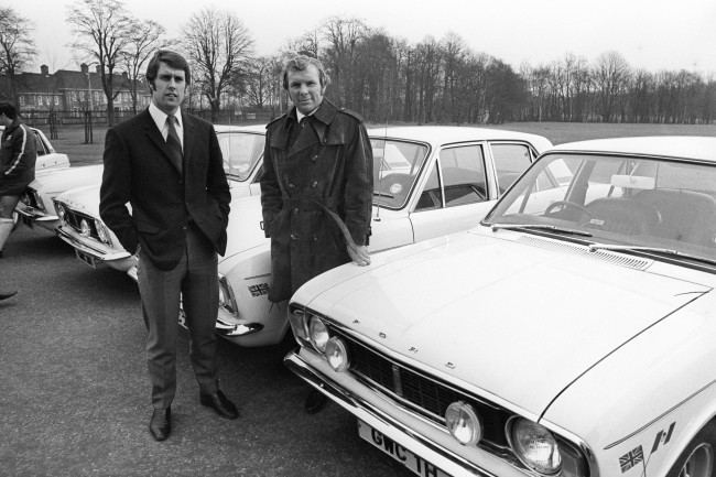 West Ham United and England's Geoff Hurst (left) and Bobby Moore (right)