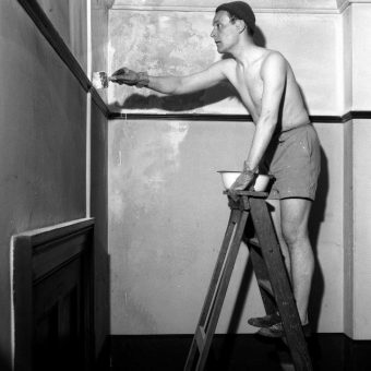 1957: Topless Tony Benn Decorates the Labour Party Offices At St. George, Bristol