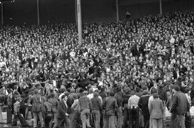 Fighting spectators befor the start of Chelsea's League Division Two promotion battle against Millwall at Stamford Bridge. Ref #: PA.2012128  Date: 12/02/1977