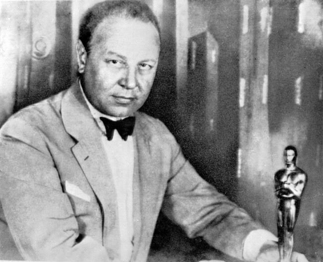 "Our 1928 picture shows German actor Emil Jannings with the first Oscar during the Academy Award presented for his 1927 film ""The Way of All Flesh."""