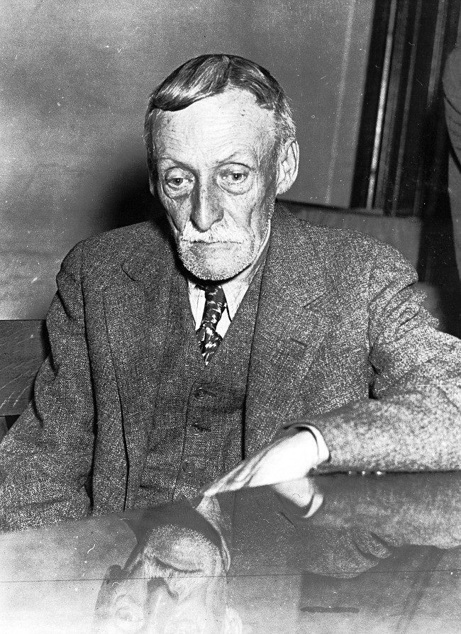 New York decorator Albert H. Fish, aged 65, is seen here on March. 23, 1935. Fish has been found guilty of the murder of 10-year-old Grace Budd, who disappeared from her home in New York in 1928. Fish has confessed to kidnapping and murdering the girl.