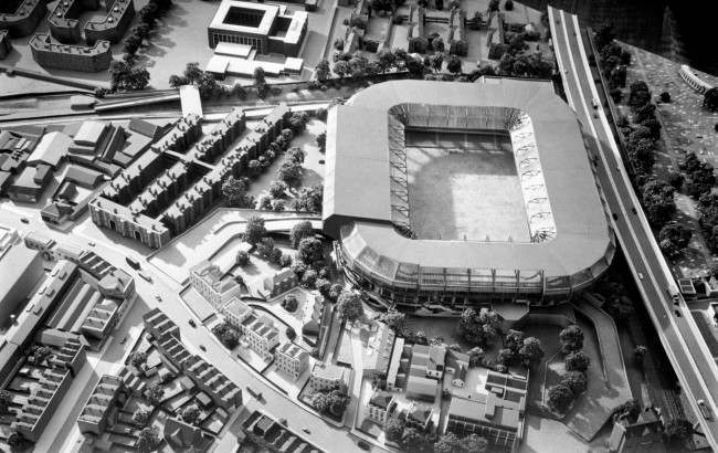 An architect's model of the proposed development of Stamford Bridge Ref #: PA.2946602  Date: 04/06/1972