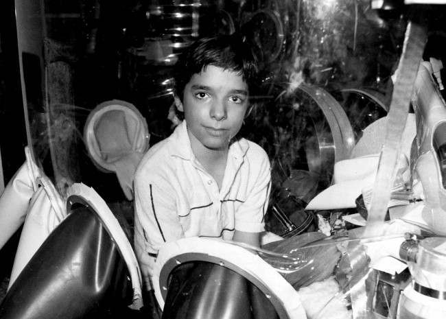 "David Vetter, born with an inherited disorder, which leaves him no natural immunities against disease, is shown in this Sept. 11, 1982 photo in Texas. Now, those closest to Vetter, fear a Walt Disney Studios film about a love-struck boy who crosses the country in a bubble will mock Vetter's life. ""Bubble Boy'' is scheduled to be released on Friday, Aug. 24, 2001, by Touchstone Pictures, a division of Walt Disney Co. In 1984, Vetter died from complications of an experimental bone marrow transplant, thought to be his only chance at survival outside his bubble. (AP Photo)"
