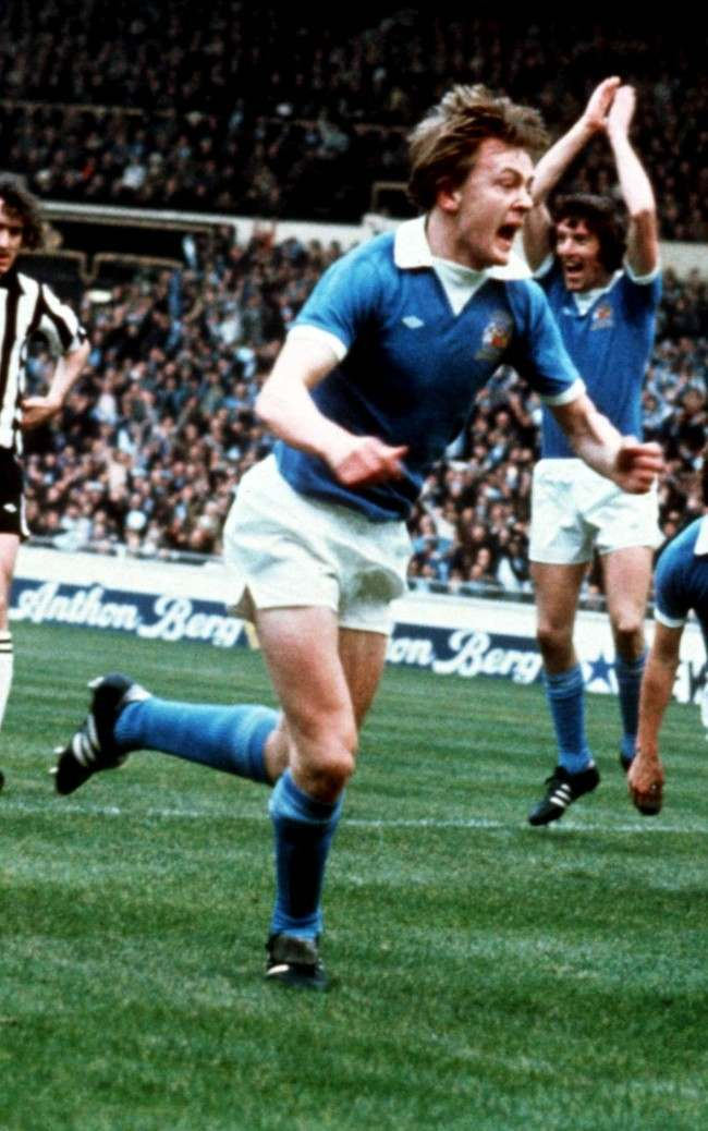 Manchester City's Peter Barnes celebrates scoring