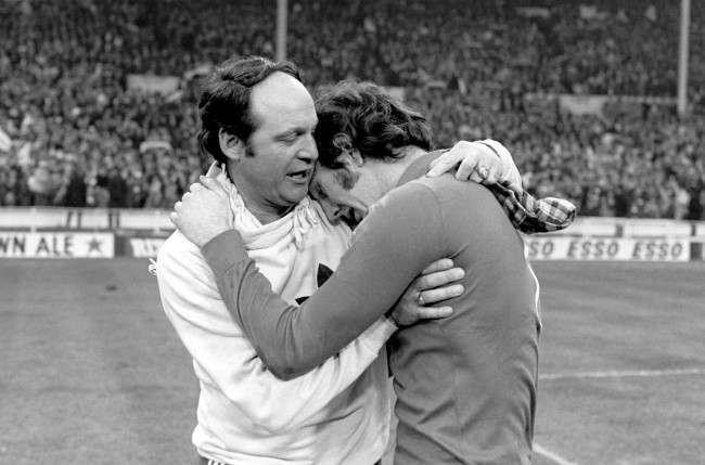 Manchester City goalkeeper Joe Corrigan lets his emotions go after his team's 2-1 victory Date: 28/02/1976