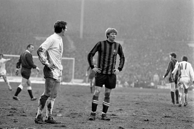 West Bromwich Albion's Tony Brown (l) and Manchester City's Colin Bell (r)