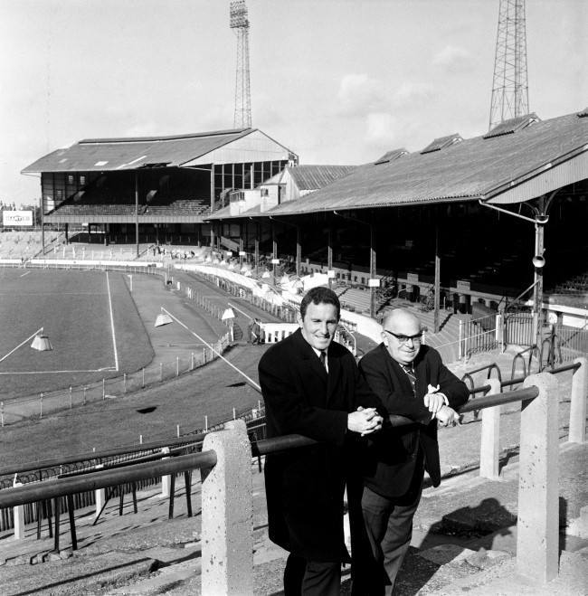 PA. 404786 Soccer - Football League Division One - Chelsea (L-R) New Chelsea manager Dave Sexton stands on the Stamford Bridge terraces with Chairman Charles Pratt NULL Date: 23/10/1967