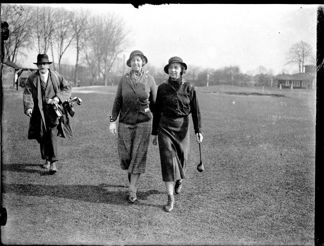 Golf - Women's Gold Cup - Roehampton (L-R) Mrs C Martin-Smith and her daughter, Miss P Martin-Smith, walk from the first tee.