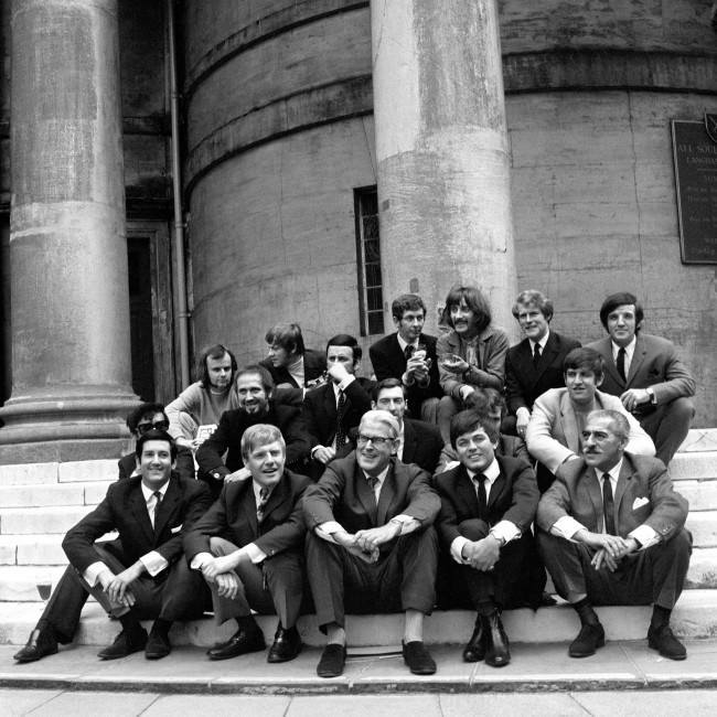 The line up of Radio One disc jockeys: (back row, l-r) John Peel, David Symonds, Dave Cash, Stuart Henry, Johnny Moran, Alan Freeman; (middle row, l-r) Peter Myers, Mike Ravon, Terry Wogan, Keith Skues, Kenny Everett, Ed Stewart; (front row, l-r) Barry Aldis, Chris Denning, Robin Scott, Tony Blackburn, Sam Costa Date: 25/07/1968
