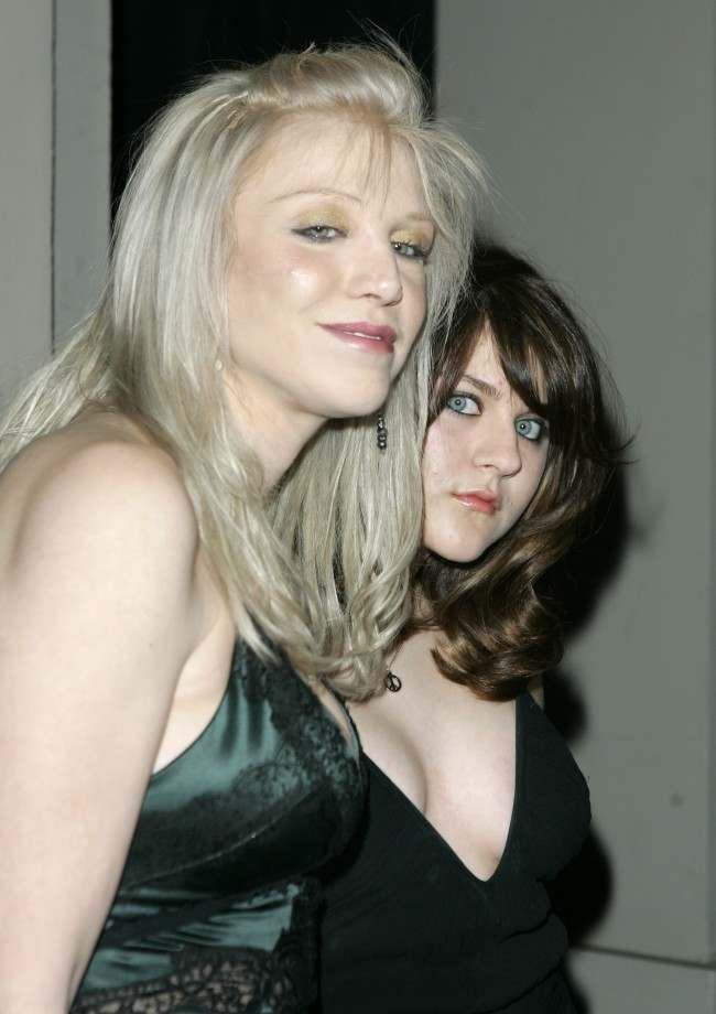 """inger Courtney Love and her daughter Frances Bean Cobain pose as they arrive at a gala on Feb. 8, 2007, in Beverly Hills, Calif. Love, the widow of the Nirvana singer Kurt Cobain, says she intends to sell most of his belongings. """"I'm going to have a Christie's auction,"""" the 42-year-old singer tells the AOL music Web site Spinner.com. The rocker committed suicide in 1994."""