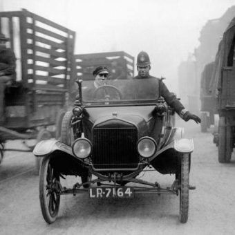 1920: Police Use Model T Ford To Slow Traffic In London