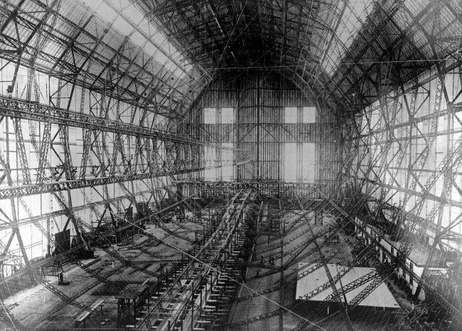 The construction of the largest airship, Z. 127 which was later named Graf Zeppelin, ever built is underway in the giant hanger at Friedrichshafen, Germany, Nov. 23, 1927.
