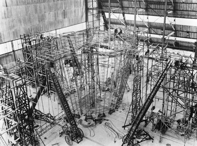 The tail piece under construction of Britain's new R101 airship at the Royal Airship Works at Cardington in Bedfordshire. Date: 17/05/1929