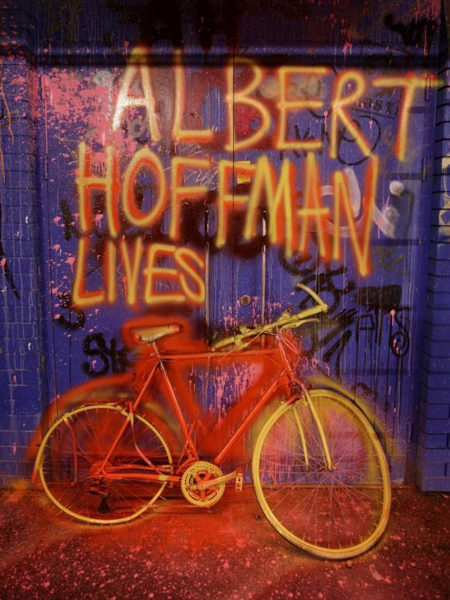An artwork paying tribute to Albert Hofmann, the recently deceased inventor of LSD, on display at the 'Cans festival' in a road tunnel in Leake Street, Lambeth, London. Issue date: Friday May 2, 2008.  Date: 02/05/2008
