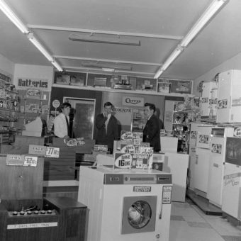 1967: The interior Of A Currys Shop in Berkampsted, Hertfordshire