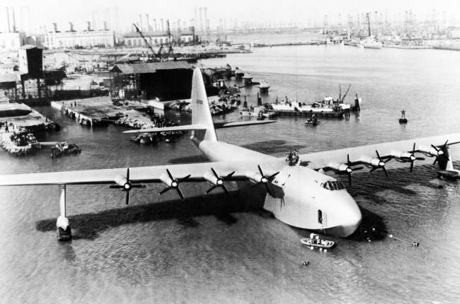 """Spruce Goose,"" the flying boat belonging to millionaire Howard Hughes, is shown in 1947."
