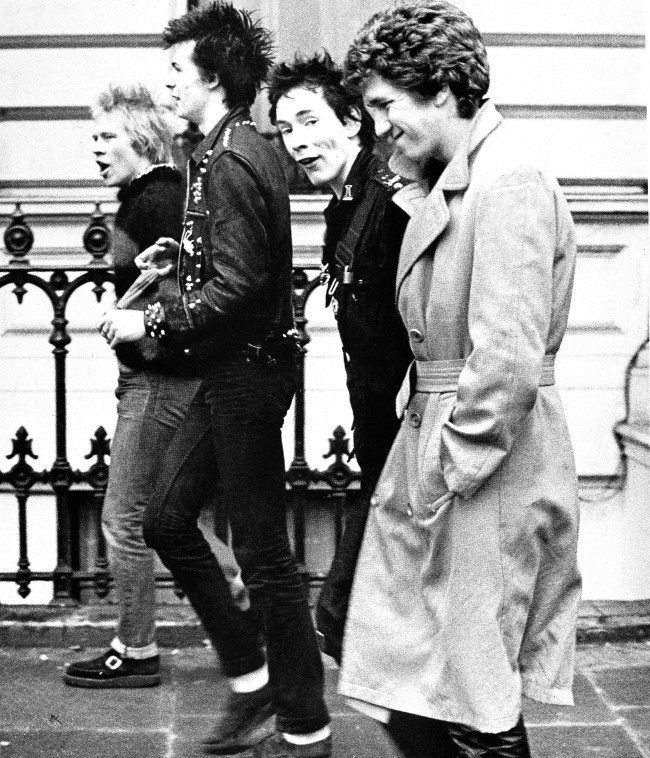 British punk rock band the Sex Pistols are seen in 1977. From left to right: Paul Cook, Sid Vicious, Johnny Rotten and Steve Jones.