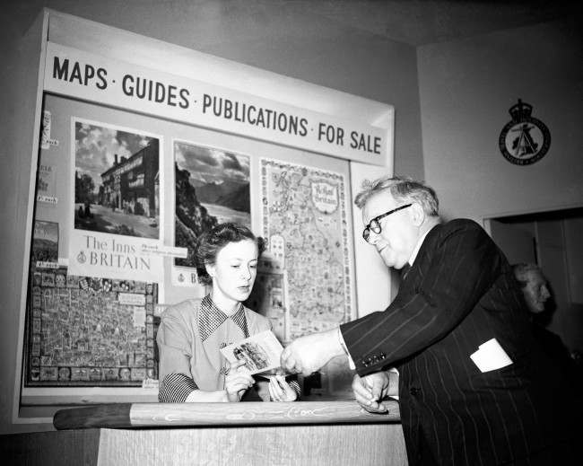 The Deputy Prime Minister Herbert Morrison opens the Information Centre at the British Holiday's Association, St James's. Date: 03/04/1951