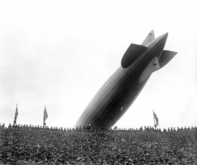 The Graf Zeppelin flies low over Wembley during the FA Cup Final