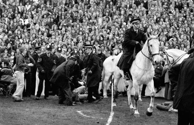 Soccer - Football League Division Two - Sheffield Wednesday v Manchester United - Hillsborough Mounted policemen help to deal with trouble making fans after fighting broke out in the crowd. Ref #: PA.768173  Date: 07/12/1974