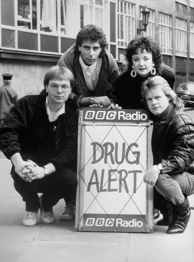 """Radio One disc jockeys (left to right) Adrian John, Gary Davies, Janice Long and Bruno Brookes in London today where they helped launch """"Drug Alert"""", a week-long campaign by the station aimed at combating drug abuse in Great Britain. Date: 15/10/1985"""