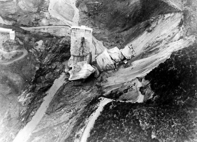Aerial view of the broken St. Francis Dam, north-west of Los Angeles, Ca., March 14, 1928, which burst, flooding the canyon below and killing over 600 people.