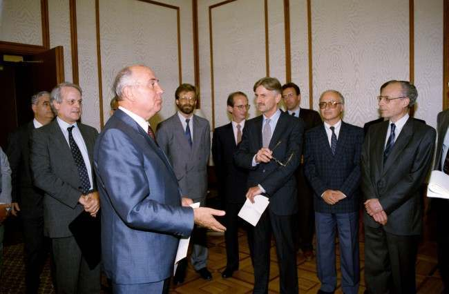 Soviet leader Mikhail Gorbachev speaks with foreign ambassadors in Moscow on Thursday, August 22, 1991, about his house arrest in Crimea during the attempted coup in the Soviet Union.