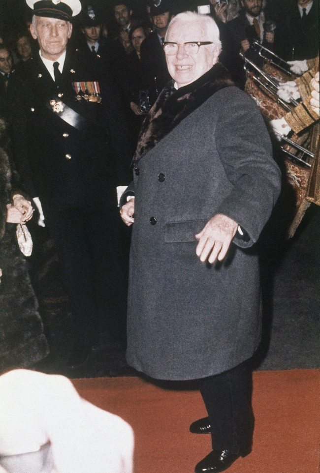 Veteran movie comedian Charles Chaplin pictured during a recent visit to London in 1974, received a knighthood in the New Year's honors announced from Buckingham Palace. The 85 year old Chaplin has spent only a little of the past sixty years in Great Britain although he has always retained his British nationality.